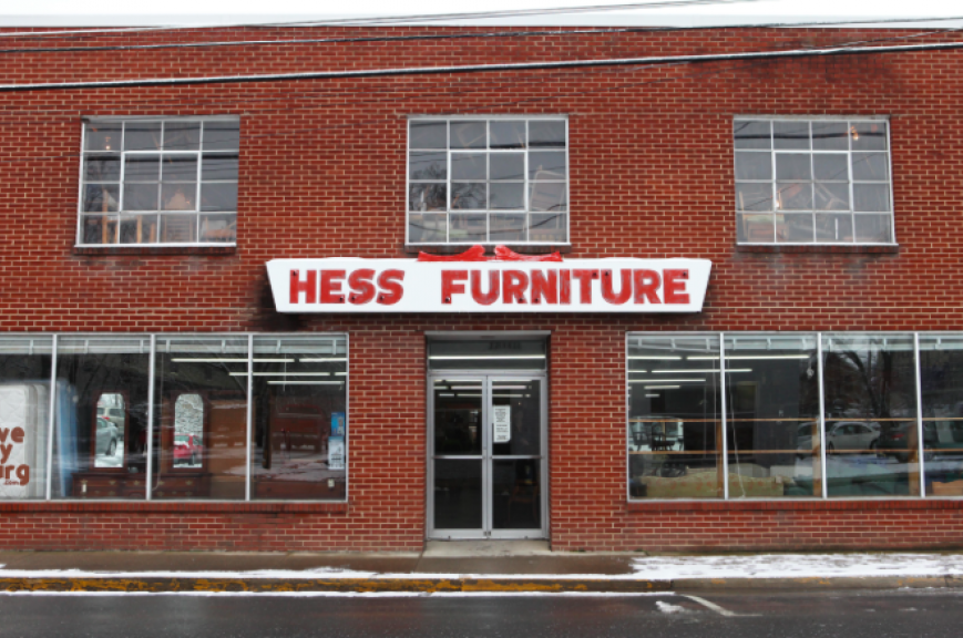 An exterior image of the Hess furniture store.
